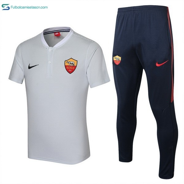 Polo As Roma Conjunto Completo 2017/18 Blanco
