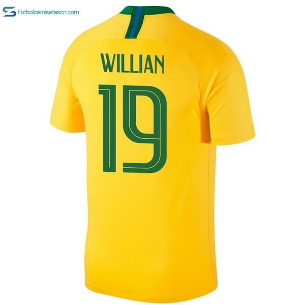 Camiseta Brasil 1ª Willian 2018 Amarillo