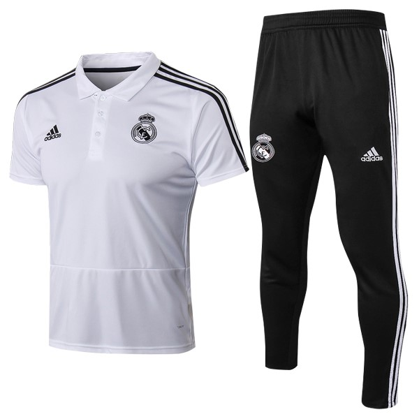 Polo Real Madrid Conjunto Completo 2018/19 Blanco
