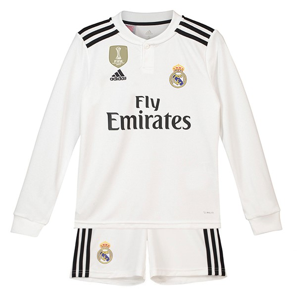 Camiseta Real Madrid 1ª ML Niños 2018/19 Blanco