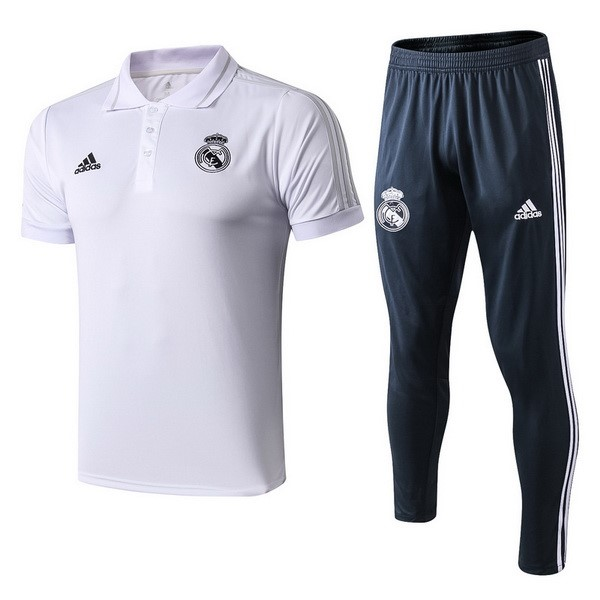 Polo Conjunto Completo Real Madrid 2018/19 Blanco Azul