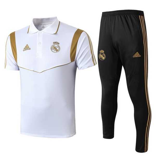 Replicas Polo Real Madrid Conjunto Completo 2019/20 Negro Blanco Oro