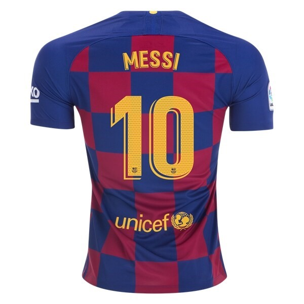 Camiseta Barcelona NO.10 Messi 1ª 2019/20 Azul Rojo