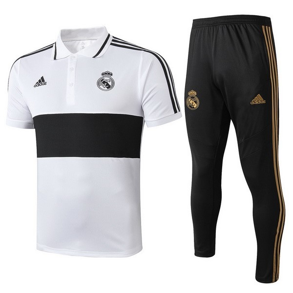 Replicas Polo Real Madrid Conjunto Completo 2019/20 Blanco Negro