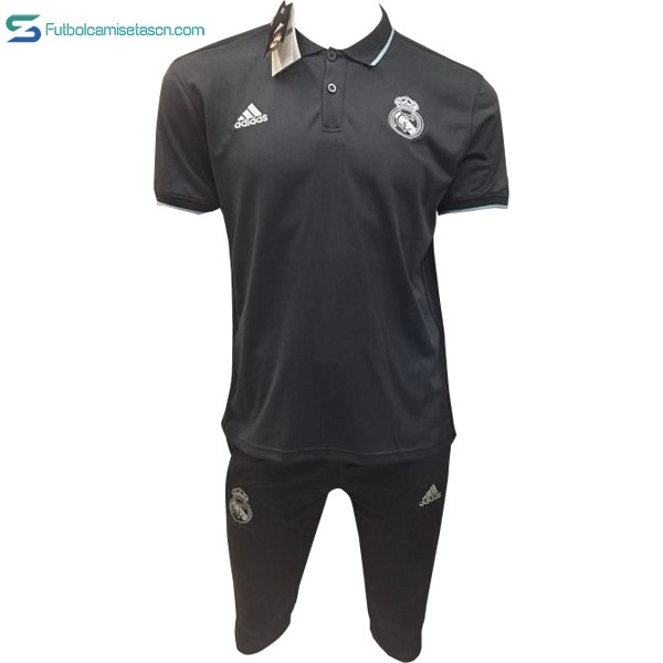 Polo Real Madrid Conjunto Completo 2017/18 Negro